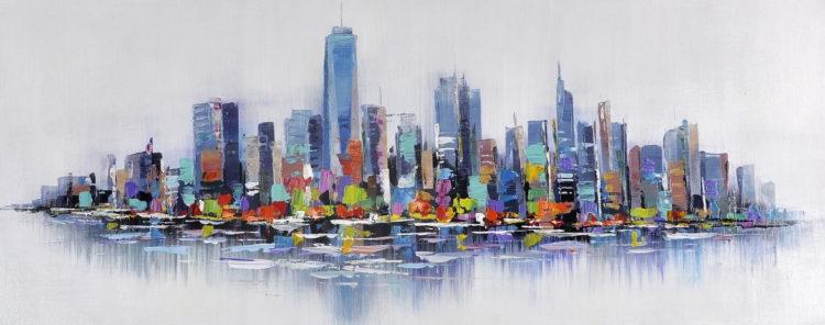 """Schilderij """"Kleurrijke skyline"""""""
