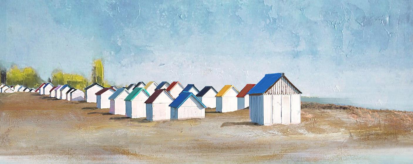 Strandhuisjes schilderij t2414
