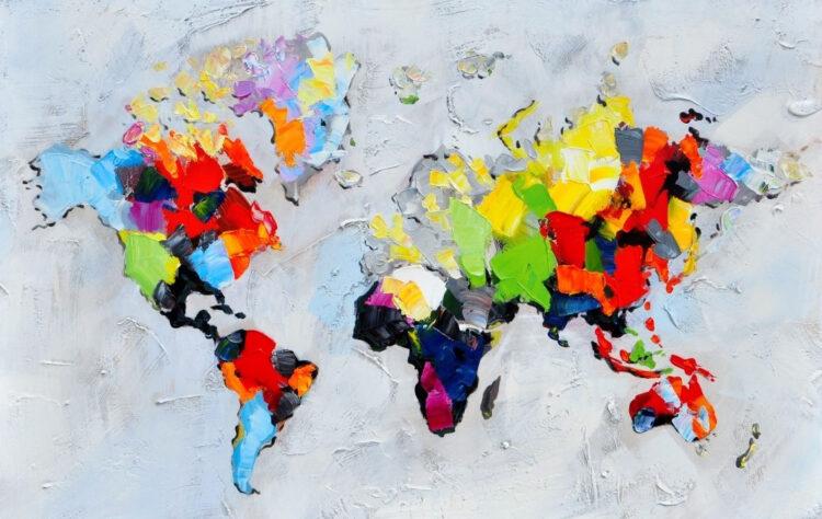 """Schilderij """"Wereldkaart palet"""""""