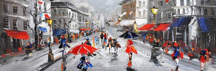 Straat in de regen
