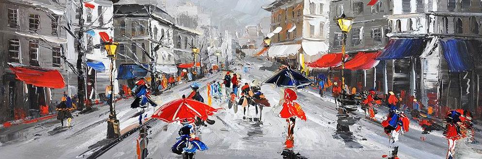 straat in de regen, schilderij y3792