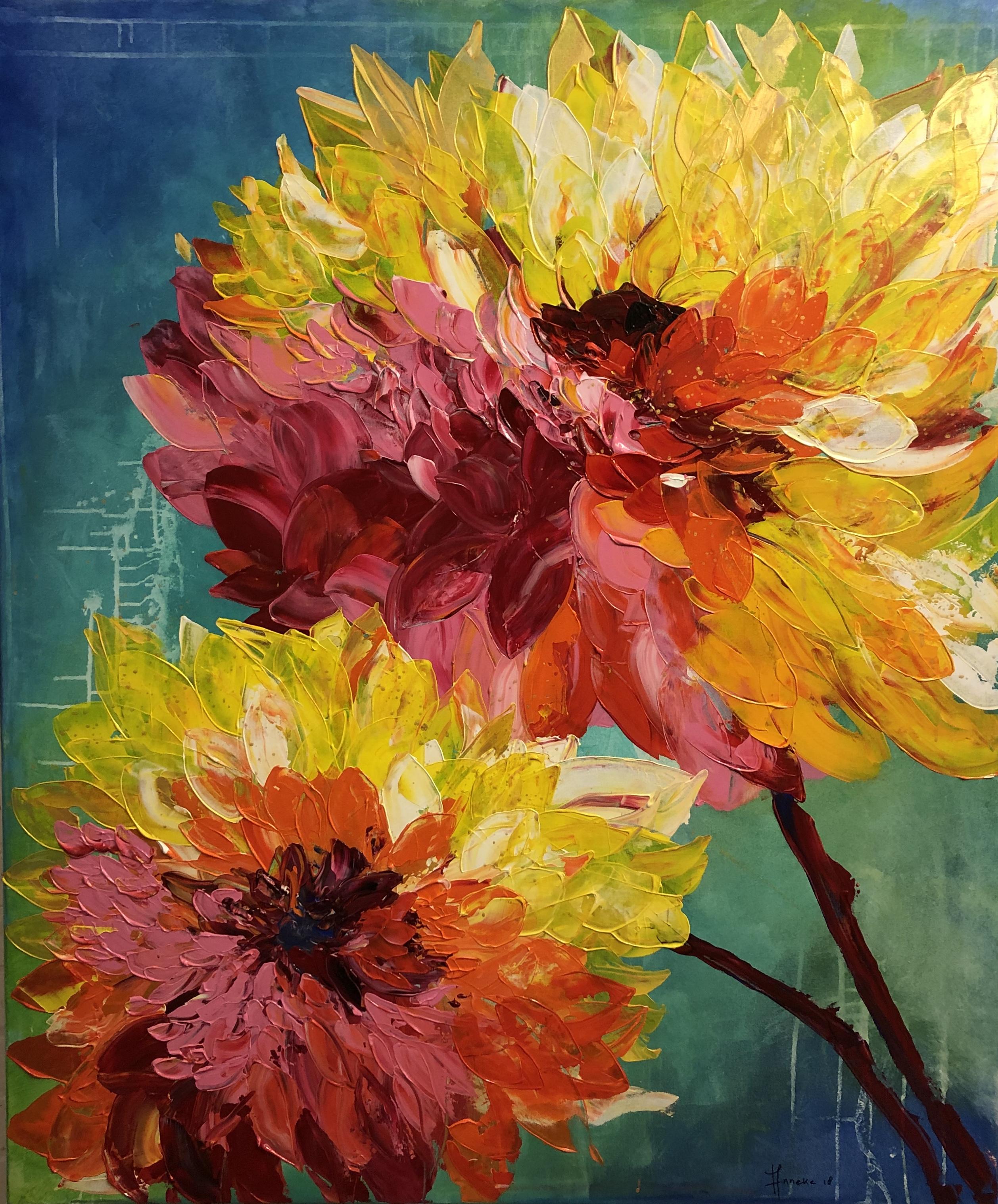 Dahlia's - Anneke Swanink, schilderij