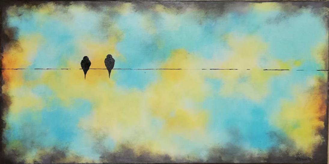 schilderij Birds on a wire 2 Maria kunstwerk