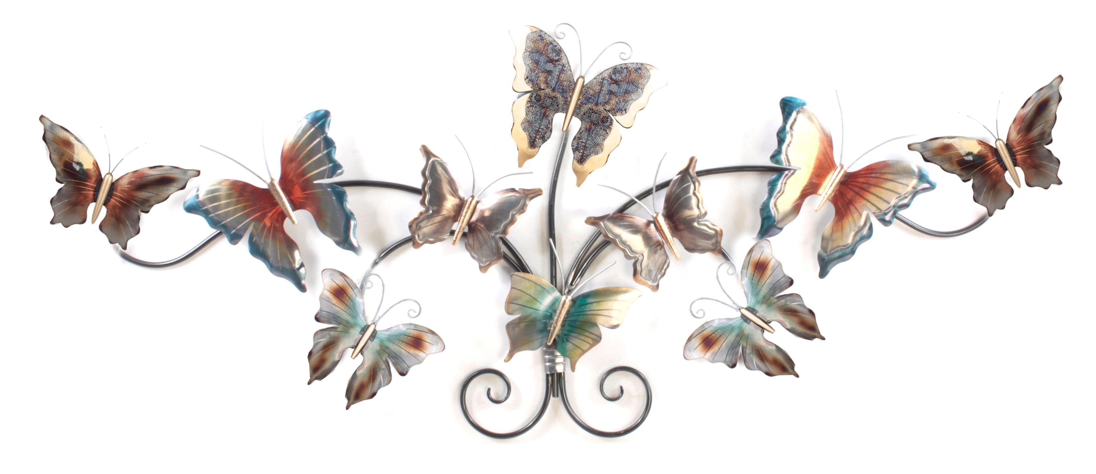 metalen wanddecoratie vlinders op een rij kunstwerk