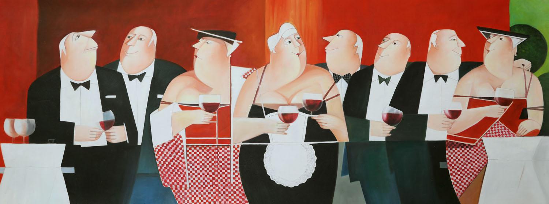Gezellig diner, schilderij EA89L, moderne kunst