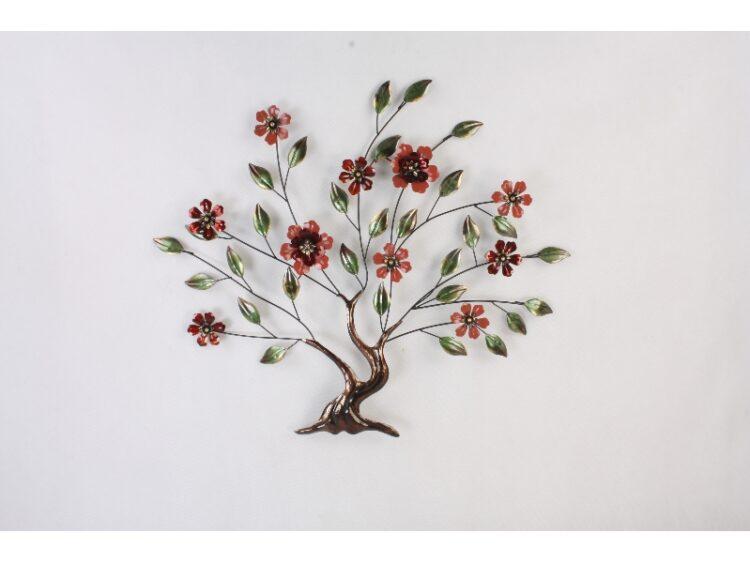 """Metalen wanddecoratie """"Metalen boom met bloemen"""""""