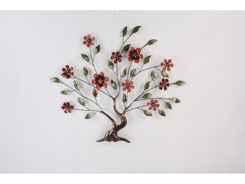 FM-32242 metalen boom met bloemen, kunstwerk muur