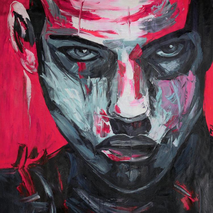 """Schilderij """"Man met rode achtergrond"""""""