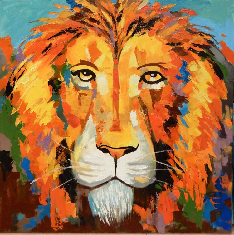 """Schilderij """"Kleurrijke leeuw"""""""