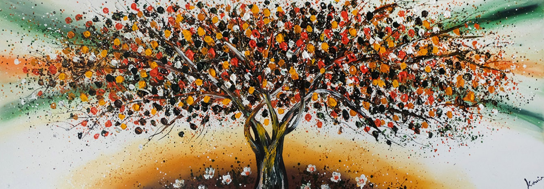 magic brown yellow schilderij boom
