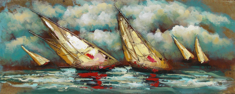 120 sailing with friends metalen schilderij
