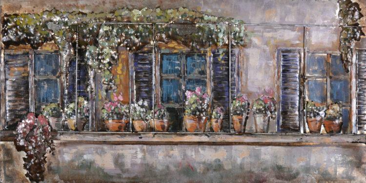"""Metalen schilderij """"Balkon met bloemen"""""""