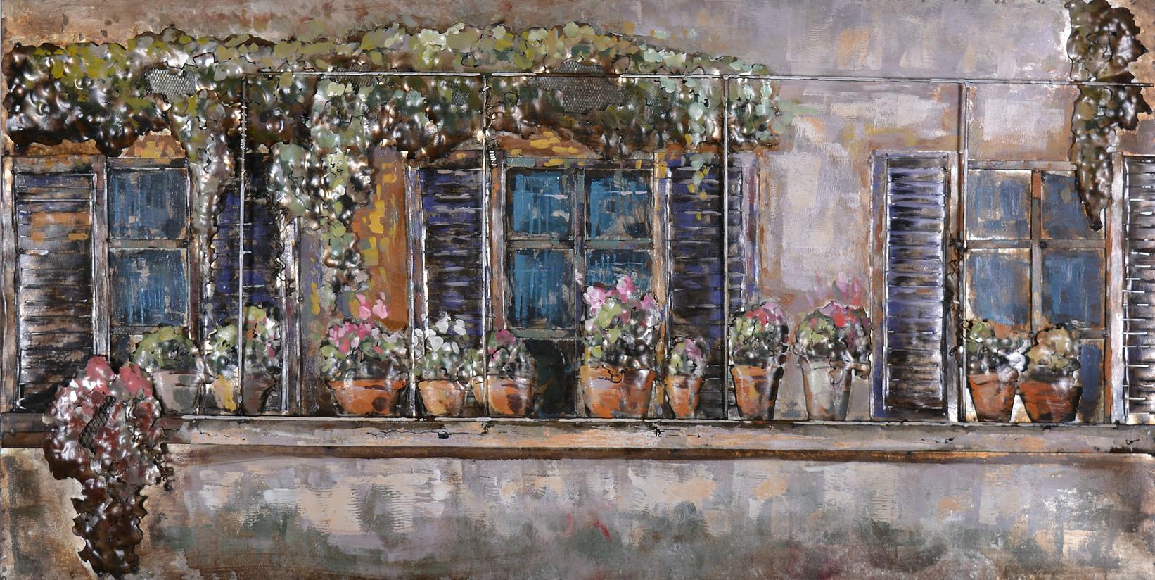 Balkon met bloemen metlane schilderij 210