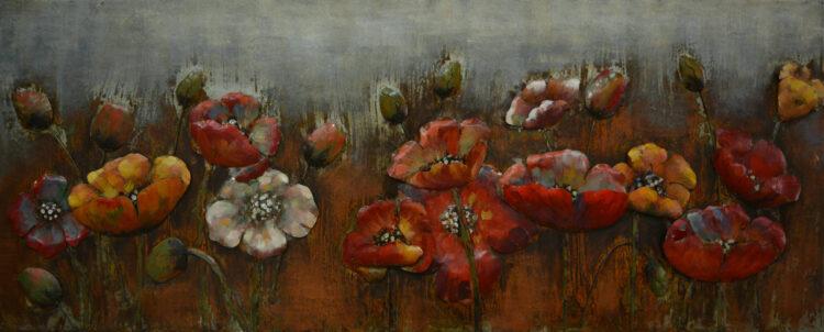 """Metalen schilderij """"Bloemenveld"""""""