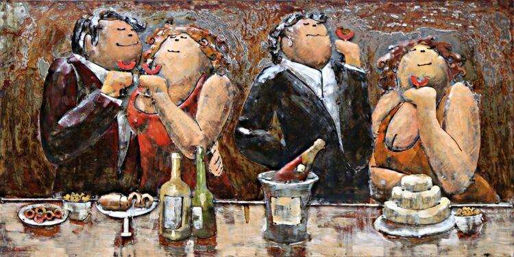 """Metalen schilderij """"Dikke vrouwen en mannen"""""""
