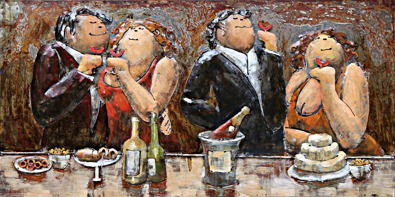 Dikke vrouwen en mannen metalen schilderij 431
