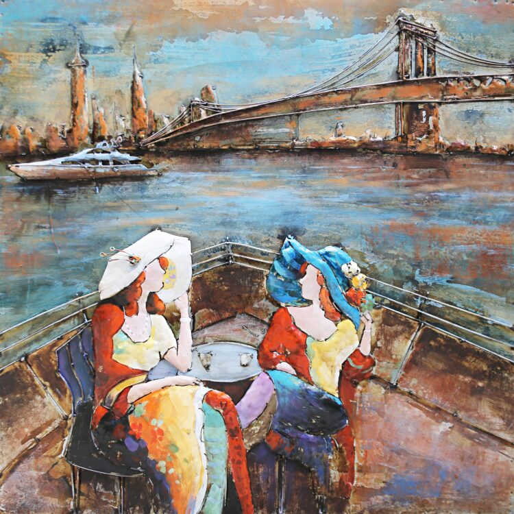"""Metalen schilderij """"Flaneren op een boot"""""""