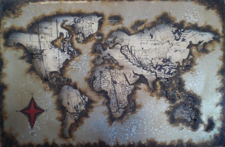 """Metalen schilderij """"Worldwander"""""""