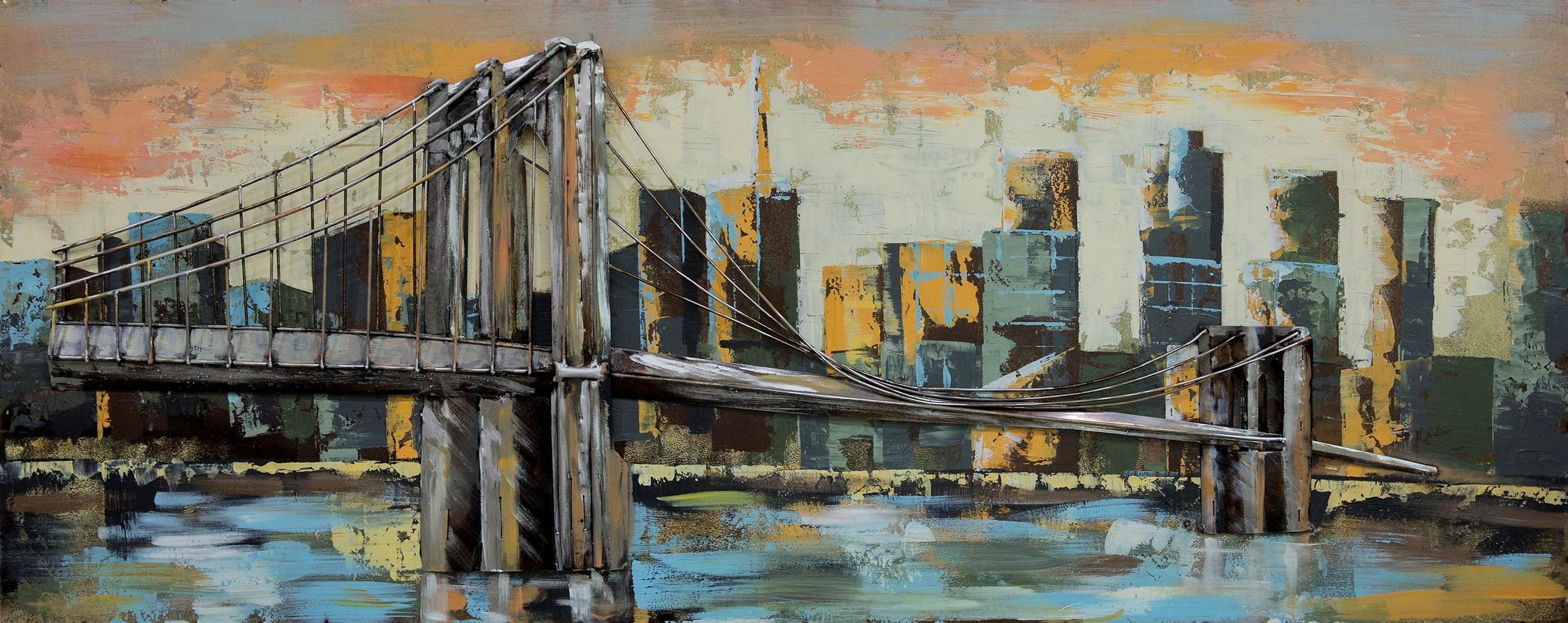 brug met uitzicht metalen schilderij 607