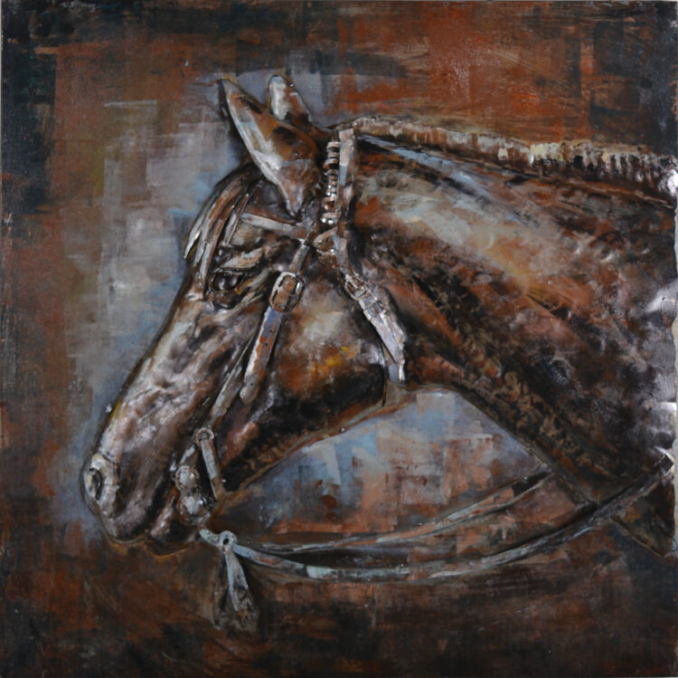 """Metalen schilderij """"Paard met tuig"""""""
