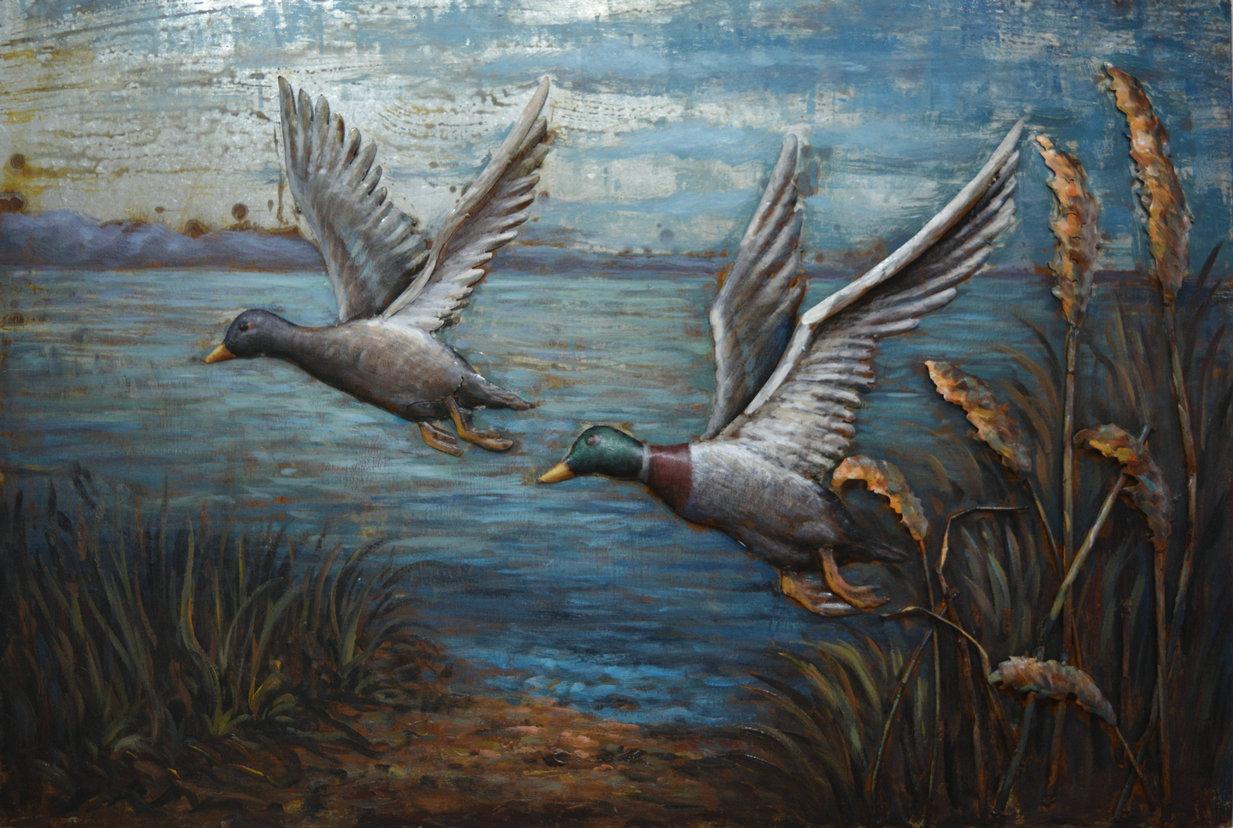 twee eenden metalen schilderij 307