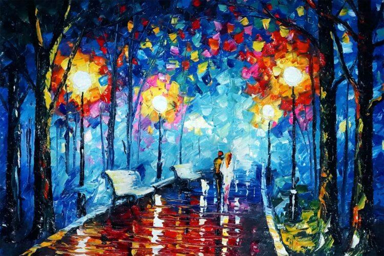 """Schilderij """"Gezellig wandelen"""""""