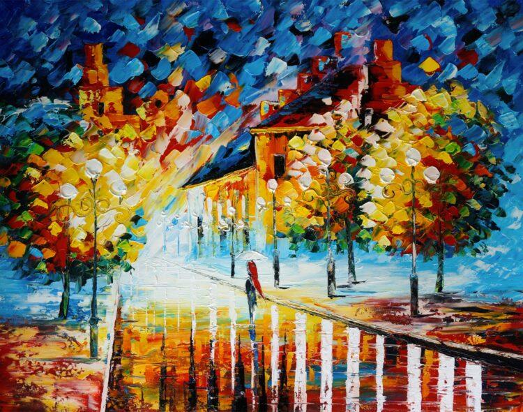 """Schilderij """"Aan het einde van de straat"""""""