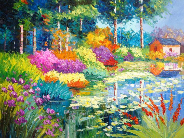 """Schilderij """"Huisje tussen de kleurrijke struiken"""""""