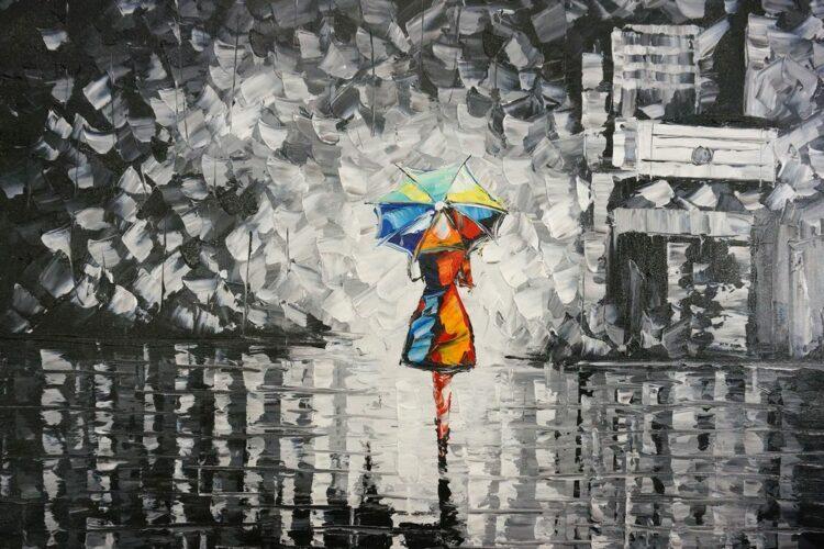 """Schilderij """"Samen met u onder een paraplu"""""""