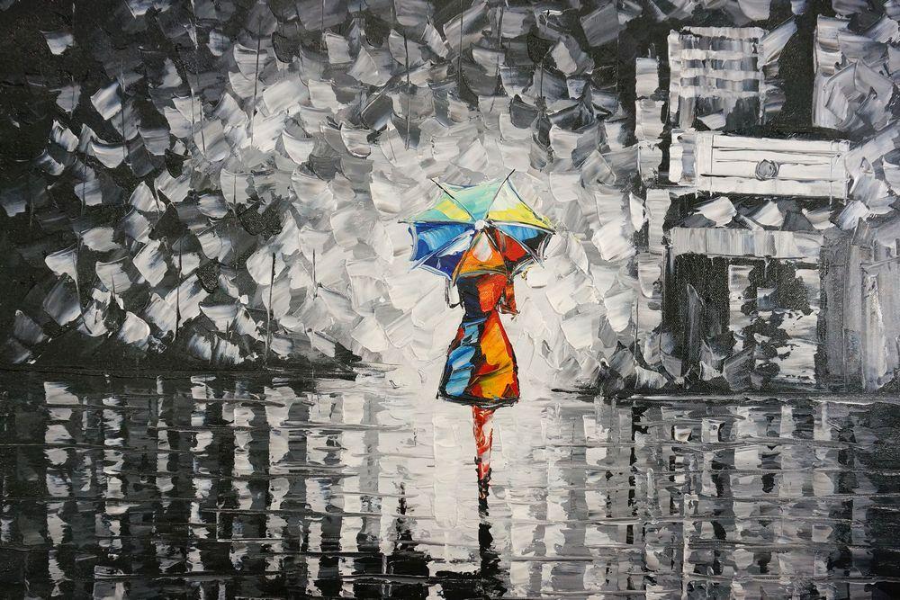 36K50-1 samen met u onder een paraplu schilderij palet