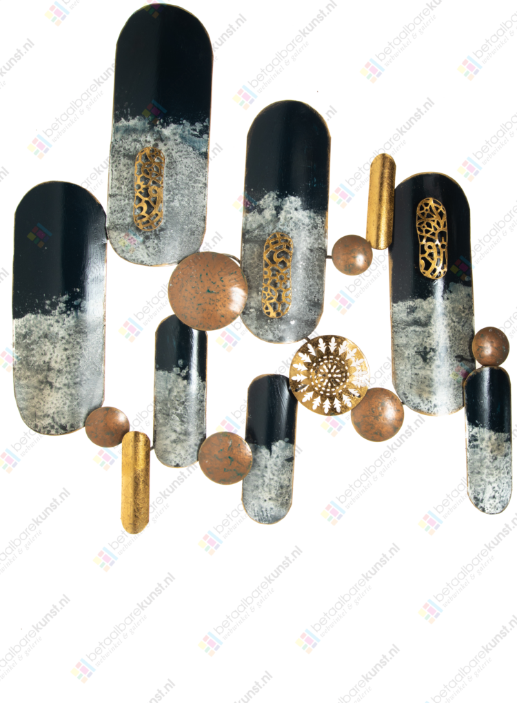 "Metalen wanddecoratie ""Colorful shields"""
