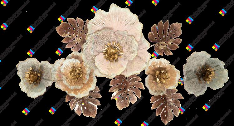"""Metalen wanddecoratie """"Pastel bloemen"""""""
