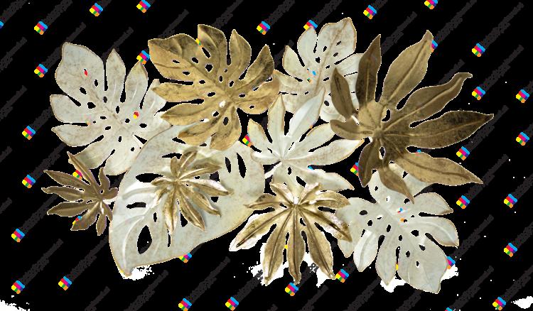 """Metalen wanddecoratie """"Gouden bladeren"""""""