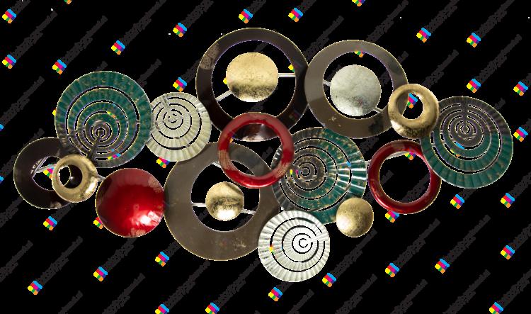 """Metalen wanddecoratie """"Veelkleurige rondes"""""""