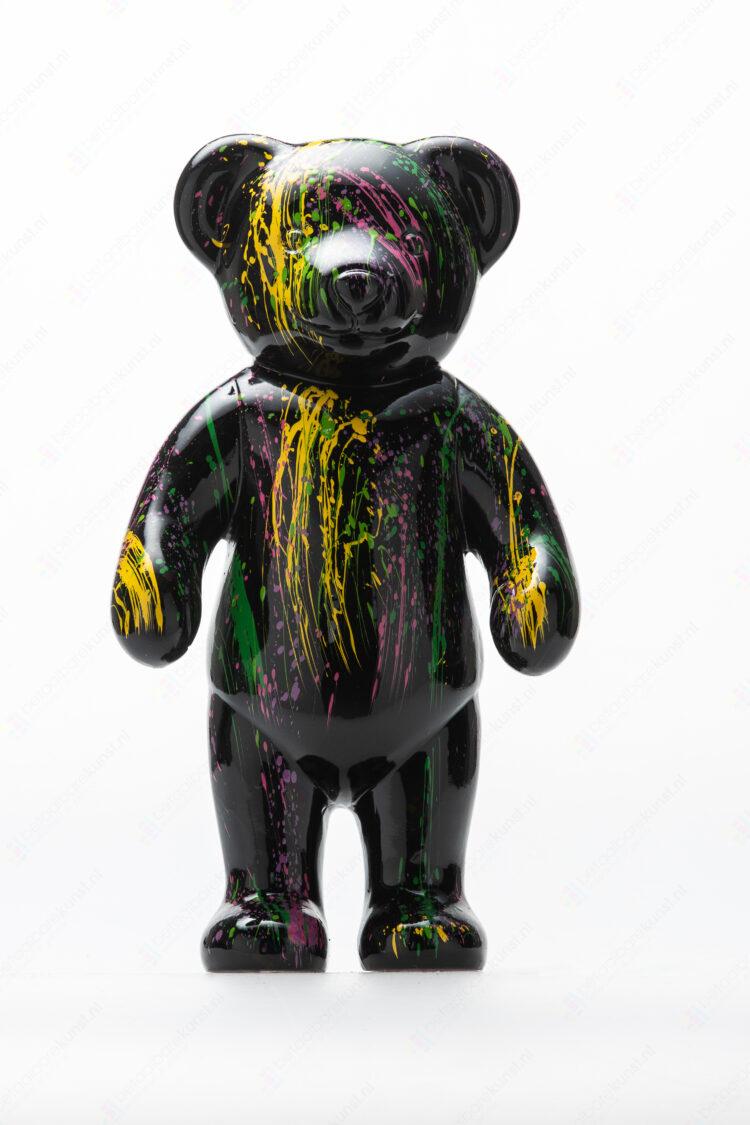 "Beeld ""Teddy staand dripping zwart"""