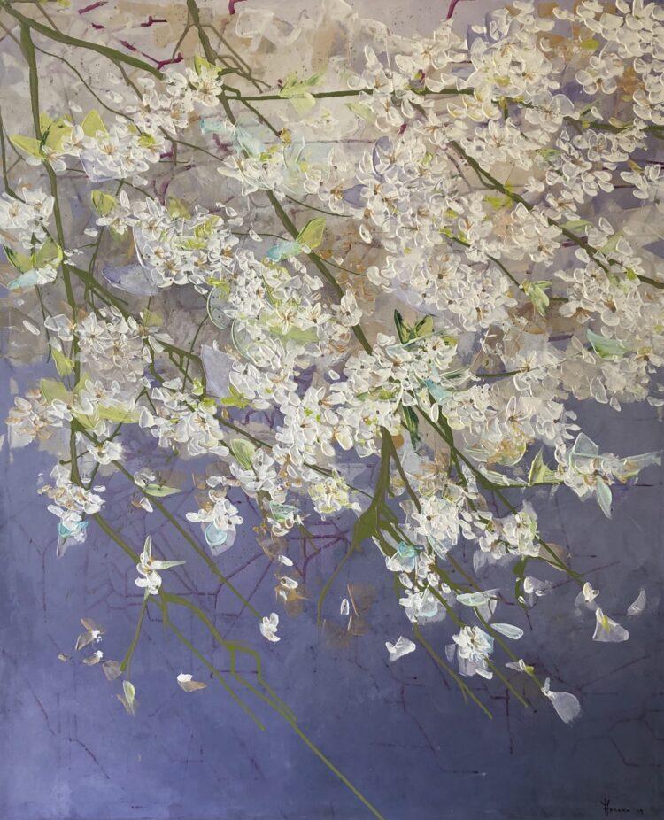 """Schilderij """"Witte bloesem"""""""