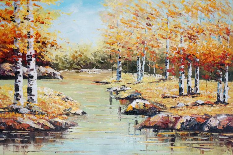 """Schilderij """"Kabbelend water"""""""