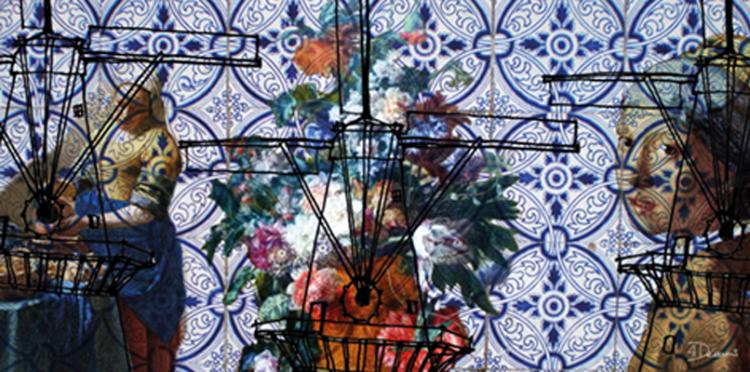 """Aluminium schilderij """"Bas – Blue Dutch (Panorama)"""" van Mondiart"""