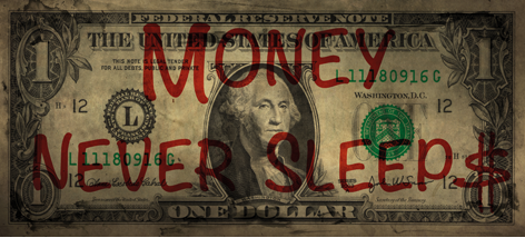 "Aluminium schilderij ""Money never sleeps"" van Mondiart"
