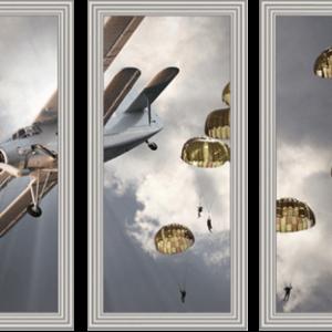 Drieluik Biplane with skydivers
