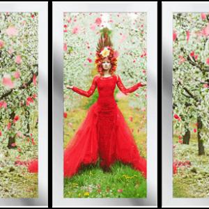 Drieluik Woman in blooming garden