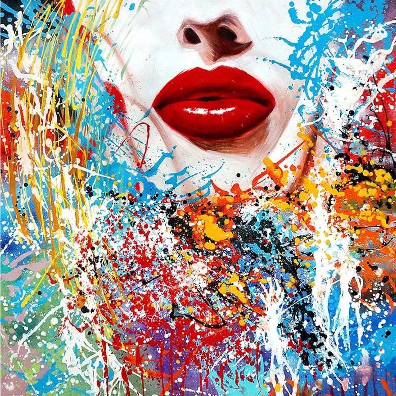 Red Lipstick schilderij gezicht vrouw