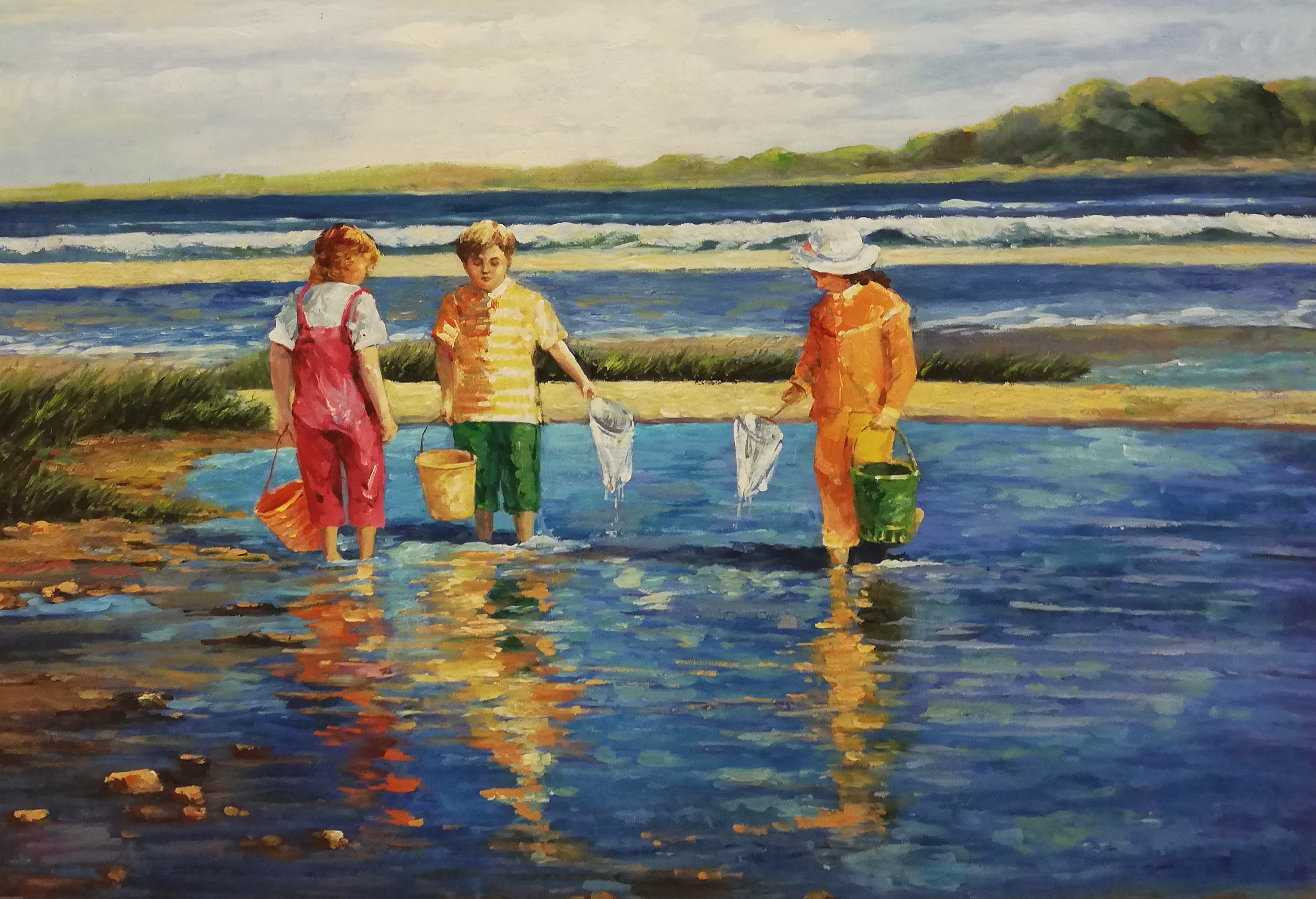 krabbetjes vangen schilderij strand