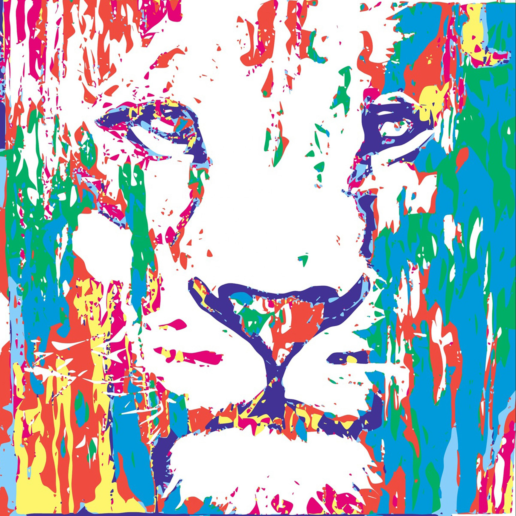 Leeuwenkop schilderij kleurrijke leeuw