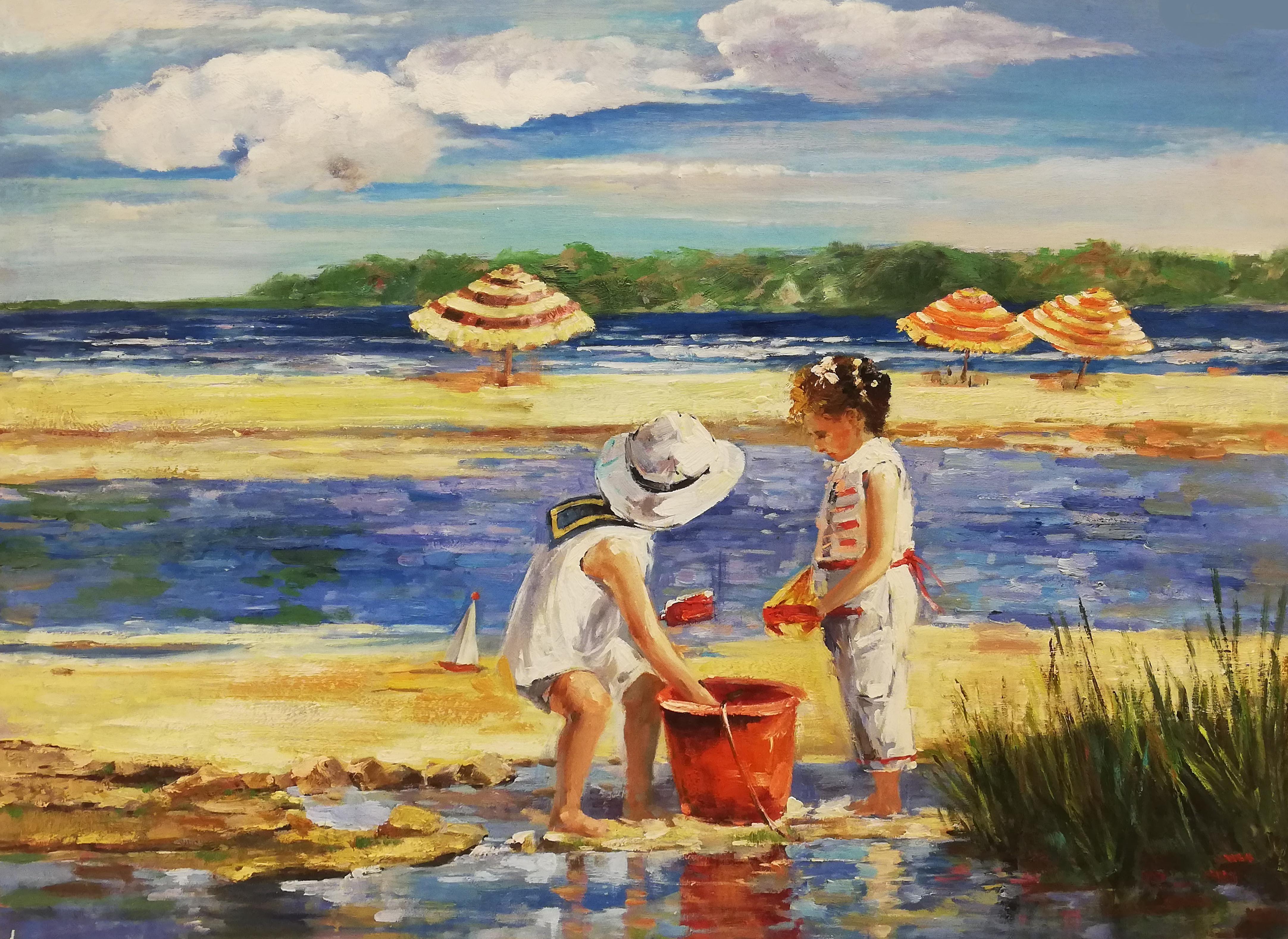 samen zandkastelen bouwen schilderij strand