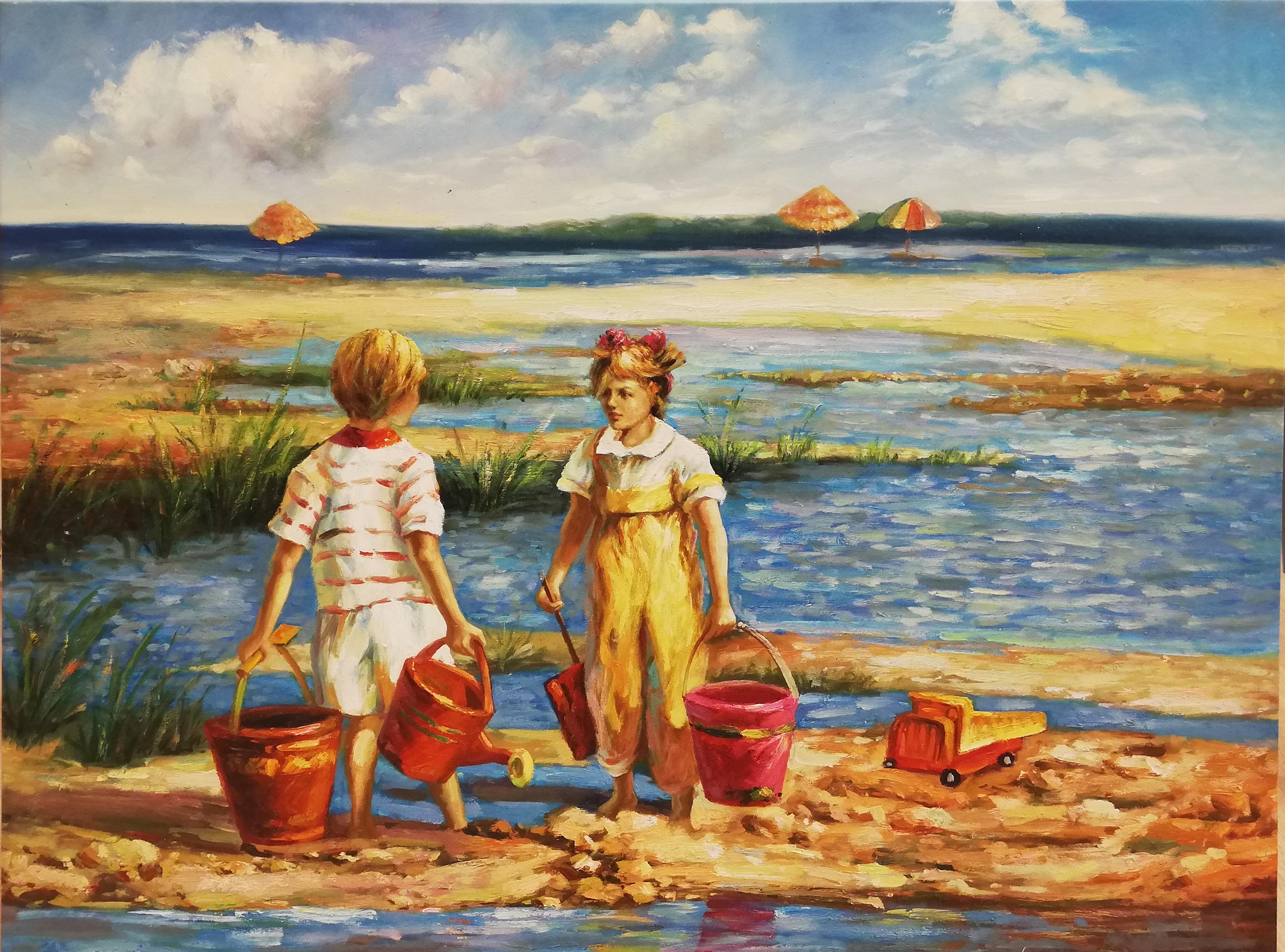 twee emmertjes halen schilderij strand