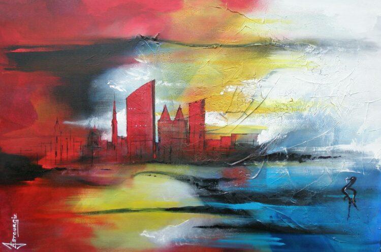 "Schilderij ""Justin Estourgie #495 – Den Haag L"""