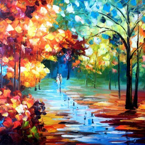 Kleurrijke boswandeling schilderij betaalbaar