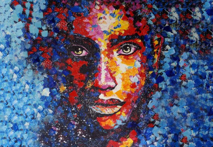 "Schilderij ""Colorful Woman (landscape)"""