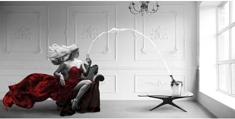 "Aluminium schilderij ""Champagne zoom"" van Mondiart"